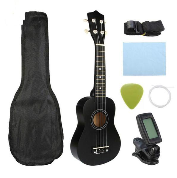 "best selling Guitar Combo 21"" Black Soprano Ukulele Uke Hawaii Bass Guitar Guitarra Musical Instrument Set Kits+Tuner+String+Strap+Bag"