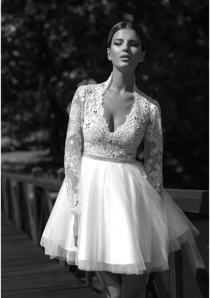 Short Bridal Gowns 2019 A Line Wedding Dresses Lace Full Sleeve Crystal Beadings Shiny Handmade Tulle Mini Layered Sexy Fashion Romantic Hot