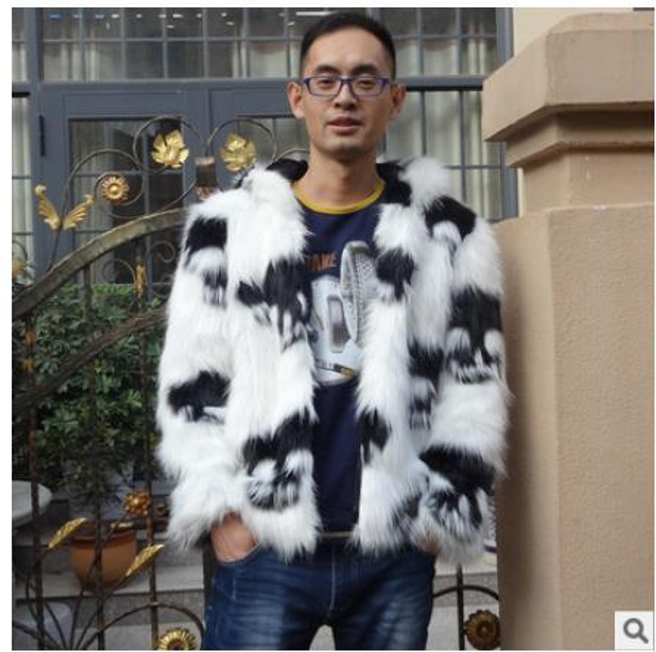 Großhandels- S / 3Xl Mens mit Kapuze große Größe Faux Fuchspelz Schädel Druck beiläufige Winter und Herbst Pelz Jacken Patchwork männlichen Outwears Kleidung C3
