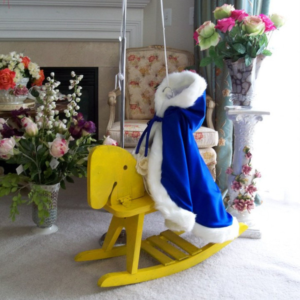 Royal Blue Little Children Winter Cloak Handmade Wedding Party Flower Girls Cloaks With Faux Fur Hooded Kids Capes Poncho Ankle Length