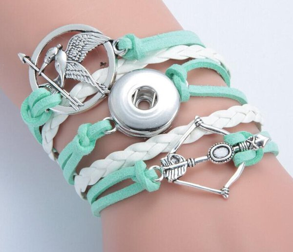 hot!!Hungry games bird bow and arrow noosa button bracelet alloy pu leater woven handmade snap button bracelet diy jelwery DIY accessories