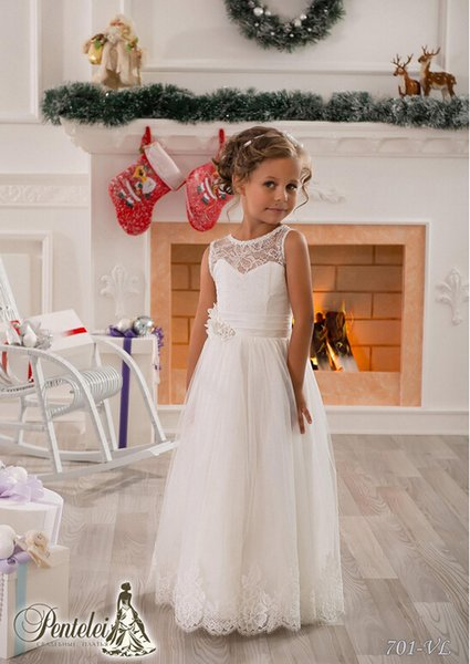 A-line Jewel Lace Flower Girl Dress Sash Floor Length Tulle Girl Birthday Party Christmas Princess Dresses Children Girl Party Dresses J85