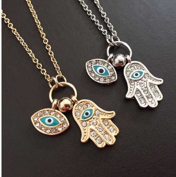 2016 New Fashion Gold Silver Blue Evil Eye Hamsa Hand Fatima Palm Necklace For Women