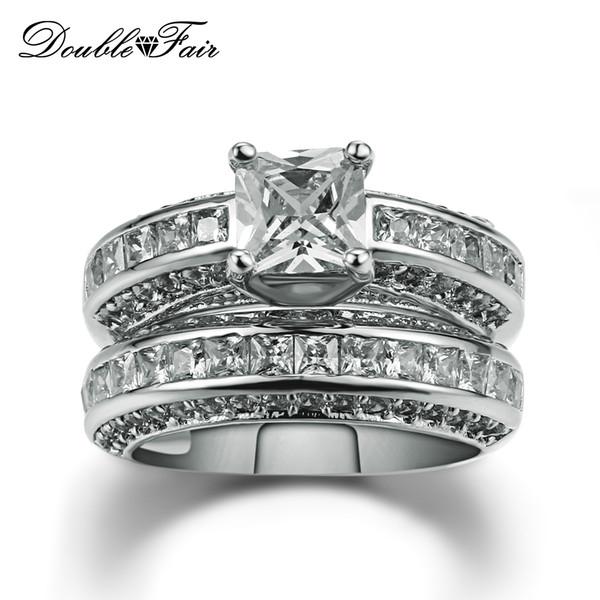 New Vintage Imitação De Cristal Branco Banhado A Ouro de Luxo CZ Diamante Anel de Casamento Por Atacado Conjuntos de Jóias Para Os Amantes 'DFR690