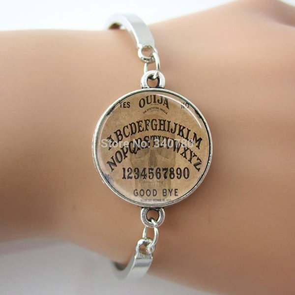 Ouija Board Bangle, Spirit Board Style Goth, Halloween A B C alphabet 0123 Numéro Art Picture Verre Dome Bracelet bijoux GL010