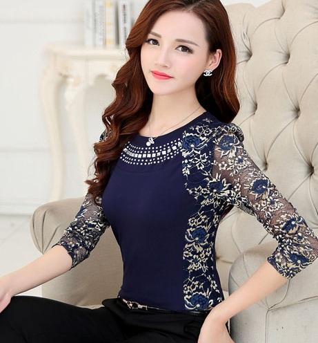 New 2015 High Quality Women's plus size lace blouse shirts ladies long sleeve slim Lace Cotton patchwork Tops for women 160F 20