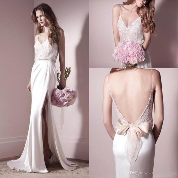 2016 New Spaghetti Straps Satin Sheath Wedding Dresses Lace Beaded Top Backless Split Floor Length Bridal Gowns