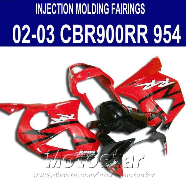 Free Customize motorcycle bodywork Fit for Honda cbr900rr fairings 954 02 03 CBR954RR black red fairing kit CBR900 RR 2002 2003 YR35