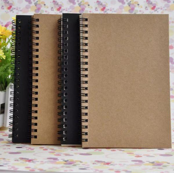 Cuadernos de espiral de Kraft Libro de diario Cuaderno enrollable reutilizable reutilizable Papel A5 Tema Universitario Logotipo personalizado A5 14X21 CM 50 hojas