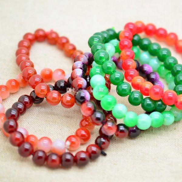Mischfarbe 8mm Türkis Kristall Strass Seitwärts Liebe Connectors Perlen Stretch Armbänder Kristall Perle Harz Armbänder