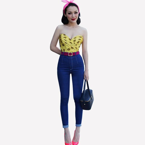 New Style High Waist Denim Jeans Fashion Women Skinny Pencil Pants Slim-Fit Casual Trousers Night Club Jeans BSF0345