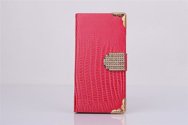 Diamond Rhinestones Lizard Pattern Wallet PU Leather Flip Case Stand For iPhone 5S 6 6S Plus Samsung Galaxy S4 S5 S6 Edge Note 3 4 5