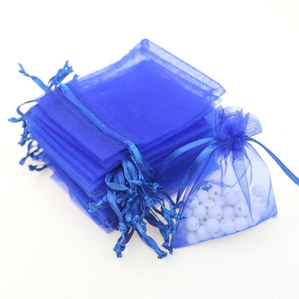 7x9cm Joyería de Organza Azul Oscuro Bolsas de Regalo Populares Bolsas de Cordón Pequeñas Bolsas de Tulle Logotipo Personalizado Impreso 500 unids / lote Al Por Mayor