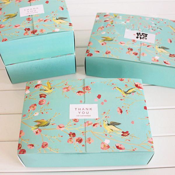 Livraison gratuite 20 PCS grand bleu fleur oiseaux décoration boulangerie paquet dessert bonbons biscuit gâteau emballage boîte cadeau boîtes d'approvisionnement faveurs