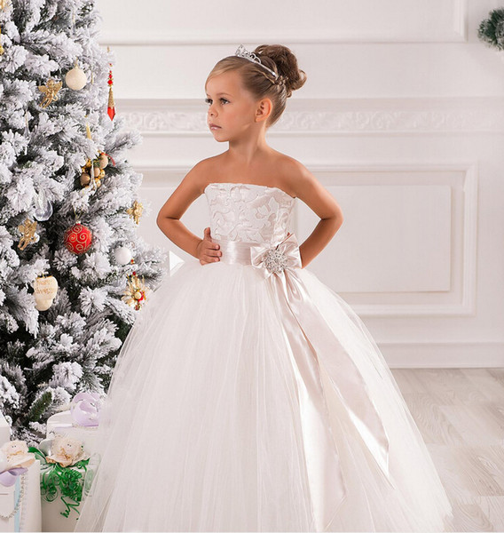 Strapless Lace Sash Bow Net Ball Gown Baby Girl Birthday Party Christmas Princess Dresses Children Girl Party Dresses Flower Girl Dresses