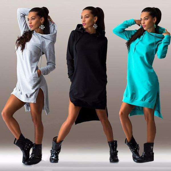 Yeni Moda Sokak Giyim Kadın Kapüşonlu Sweatshirt Elbise Bölünmüş Rahat Tişörtü Uzun Hoodies Elbise Kazaklar Spor Dış Giyim