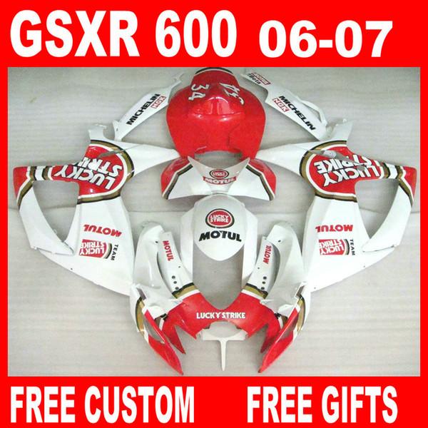 Per Suzuki GSXR600 GSXR750 Kit carena 06 07 GSXR 600 750 2006 2007 Kit carenature Lucky Strike