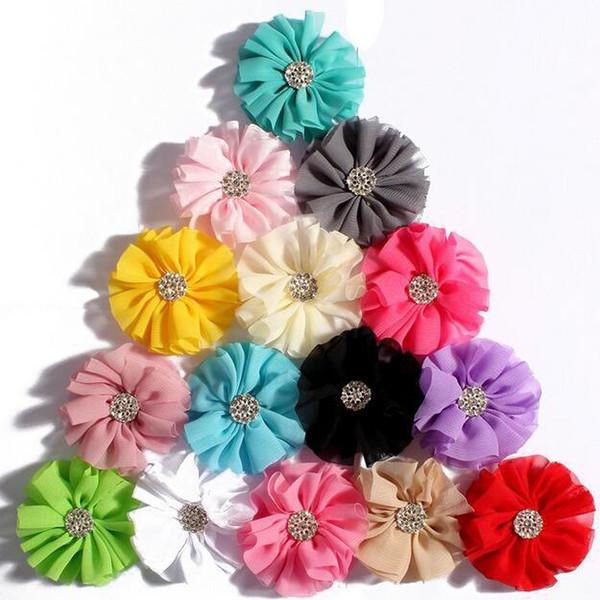 Chiffon flores com liga broca de cristal fit diy headband hairclips sapatos ornamento mulheres lado clipe diy bebê meninas roupas acessórios para o cabelo