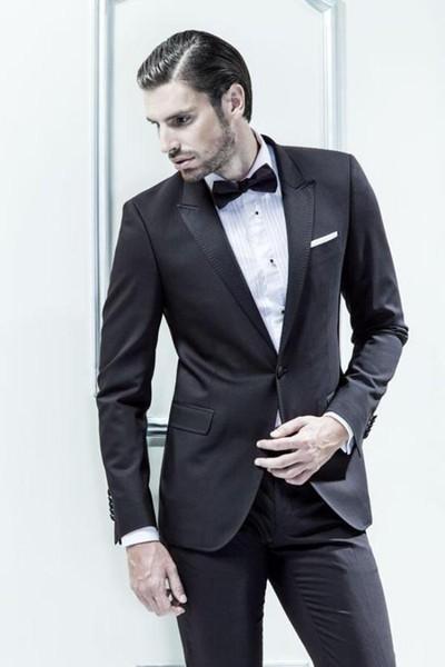 Toptan Satış - En Kaliteli Bir Düğme Tepe Yaka Damat Smokin erkek Gelinlik Balo Giyim Custom Made (Ceket + pantolon