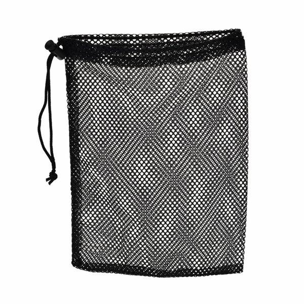 Wholesale-1Pc Black Nylon Golf Ball Bag Mesh Nets Bag Pouch Golf Table Tennis 48 Balls Carrying Holder Storage Bag String Closure 30x19cm