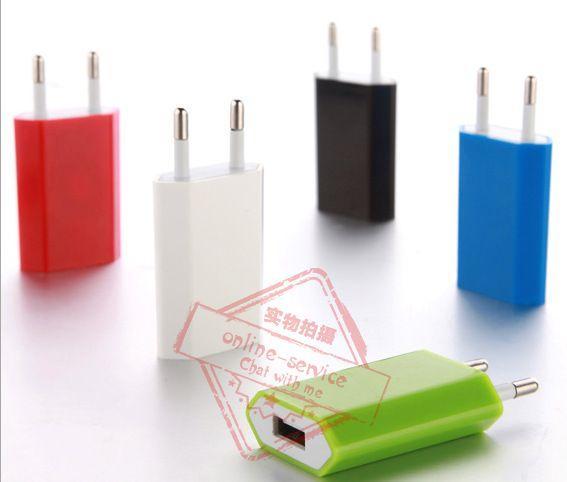 IC 보호 EU / US 플러그 5V 전체 1A 컬러 평면 벽 충전기 홈 배터리 핸드폰 아이폰 7 4S 5S 6S 갤럭시 S6 S7 용 AC 전원 어댑터