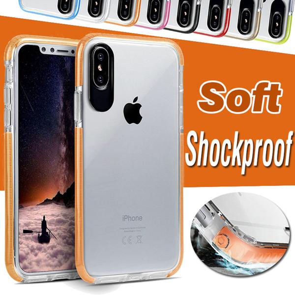 Dupla cor tpu + pc rígido de volta transparente claro à prova de choque capa protetora case para iphone xs xr x 8 7 6 6 s plus samsung galaxy s9 s8