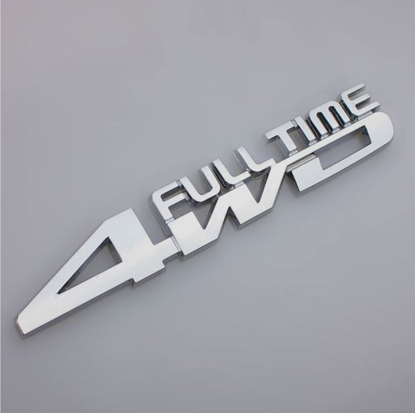 Car Metal Chrome 3D 4WD Full time Displacement metal Chrome Emblem Badge truck auto motor Gule sticker decal accessories