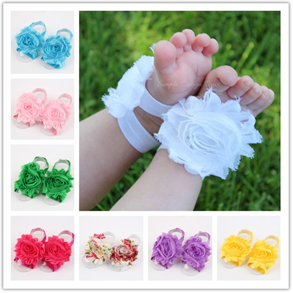 2015 new Inflant Baby Chiffon flower Barefoot Sandals, Unisex Baby Girls Boys foot wear Photo Accessory multi colors