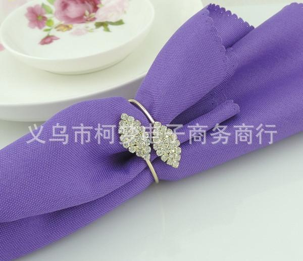 Couleur or Futaba herbe cristal strass serviette anneaux en métal anneau de nappe pour hôtel mariage banquet table décoration accessoires