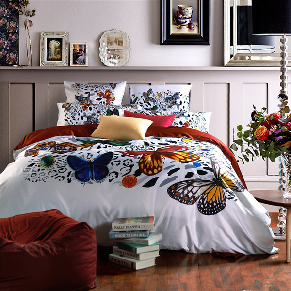 100S Pima Cotton Butterfly Printed 4pcs Bedding Sets High Grade Digital  Printing Bedding Suit Very Beautiful
