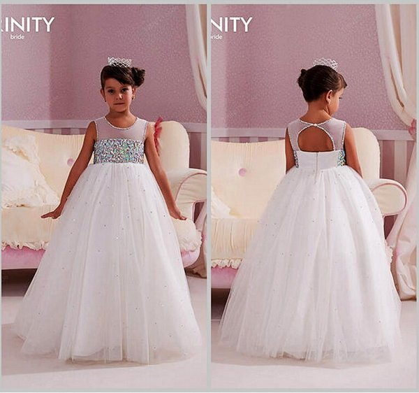Sheer Neck Crystals Backless Tulle Ball Gown Baby Girl Birthday Party Christmas Dresses Children Girl Party Dresses Flower Girl Dresses