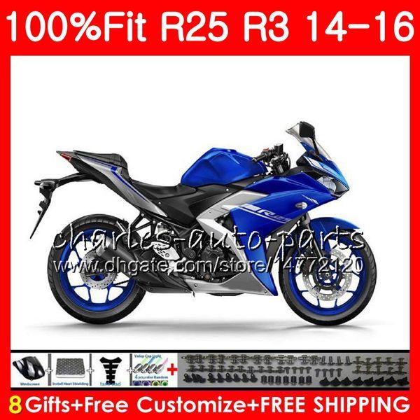 Injection Body For YAMAHA YZF R 3 YZF-R3 blue black YZF-R25 R25 14 15 16 Cowling 83NO23 R 3 YZFR3 YZFR25 R 25 R3 2014 2015 2016 Fairing Kit