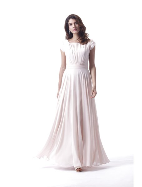 Cap Sleeves Blushing Pink Long Modest Bridesmaid Dresses With Sleeves Ruched Bodice Chiffon Skirt Boho Formal Wedding Party Dress Custom