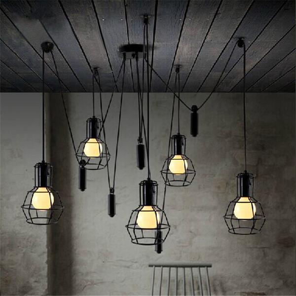 America Chandelier Loft Pendant Lamp Adjustable Retro E27 Bulb Industrial Lighting Dining Room Vintage