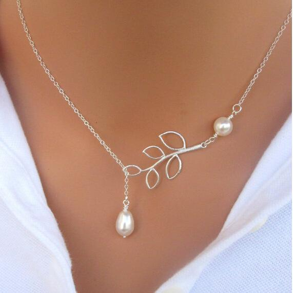 2016 hot sale jewelry Retro Popular Simple Leaves Pearl Necklace For Women Pearl Jewelry Charm Infinity chain Pendant Necklaces