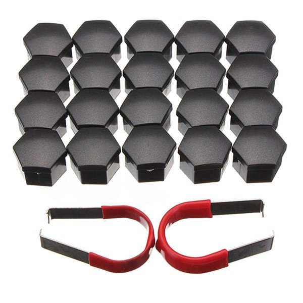 20pcs/set 19mm Car Plastic Caps Bolts Covers Nuts Alloy Wheel Protectors Matte Black