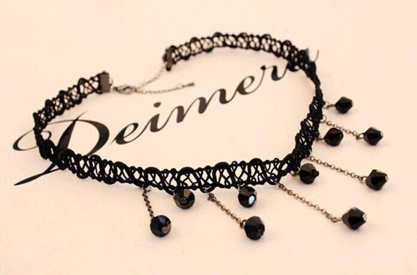 2015 Fashion Women Fashion Crystal Lace Collar Pendant Chain Statement Bib Necklace Jewelry Black Lace Pendant Necklace Free Shipping