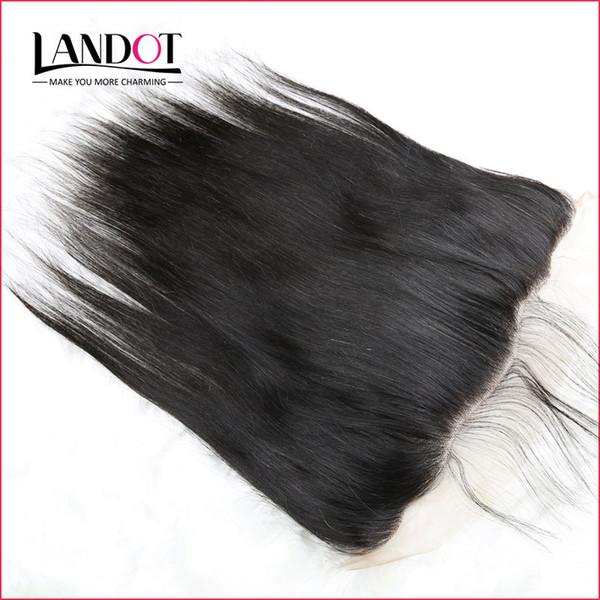 Sınıf 8A Brezilyalı İpeksi Düz Dantel Frontal Kapatma Boyutu 13 * 4 Tam Dantel Frontal% 100% Işlenmemiş Virgin İnsan Saç Kapaklar Doğal Siyah