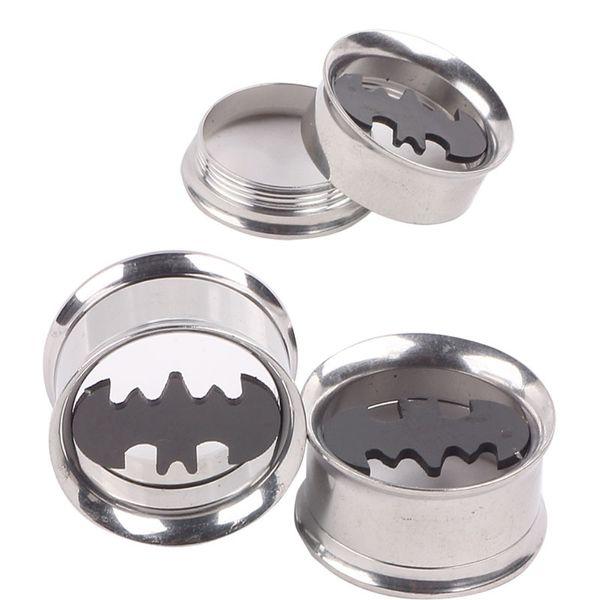 Batman acero inoxidable 316L Flare Ear Plug 60 unids Mixto 6 tamaños Ear Flesh Tunnel Fit Expander Piercing Pendientes Kits de calibradores