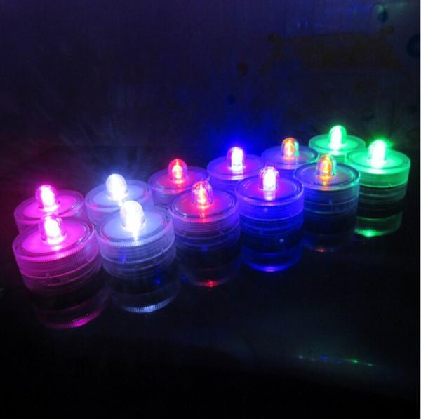12pcs/lot Waterproof LED Submersible Candles Tealight Lamp Fish Tank Vase Decor Lighting For Wedding Birthday Party Bar Decoration