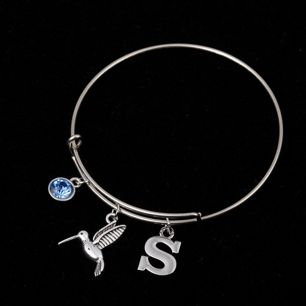 Myshape Cool Fashion Stainless Steel DIY Charms Bracelet Water Bird Letter S Blue Jewel Pendant Bangle Wristbands For Special Friend