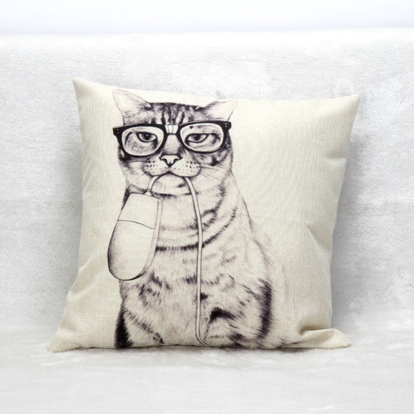 20 Styles Home Decorative Adorable Animal Head Printing Linen Throw Pillow Cover Cushion Case