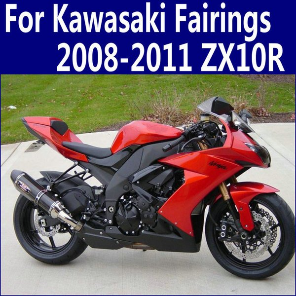 Motorcycle parts for Kawasaki ZX10R fairings 2008 2009 2010 2011 Ninja ZX-10R 08 09 10 11 red black plastic fairing kit QP31