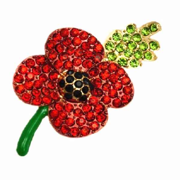 GEMIN Large Poppy Flower Brooch Lapel Badge Pin Gold Brooch