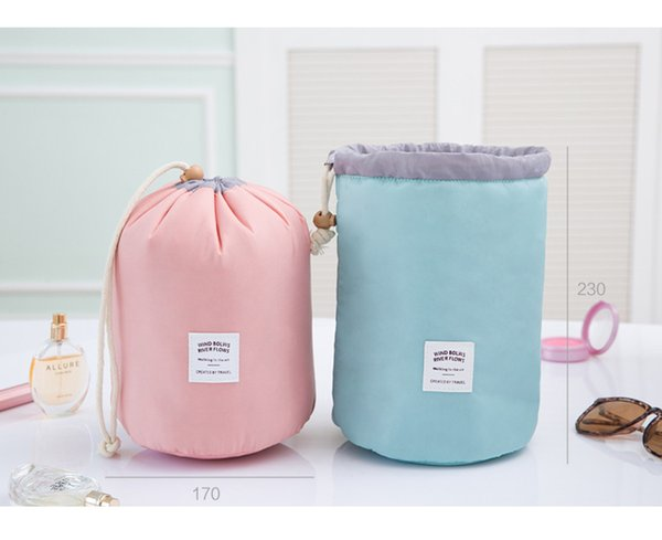 2018 Hot selling Make up bag Barrel Shaped Nylon travel wash bags storage bags waterproof material cosmetic bags big capacity free shipping