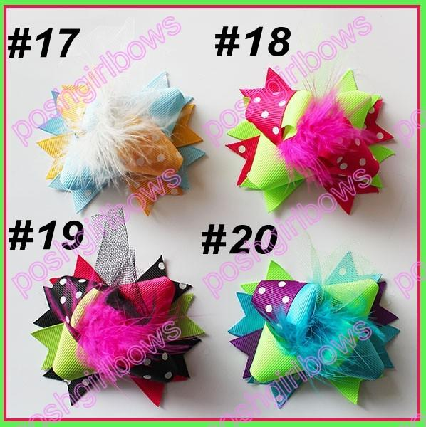 free shipping 45pcs 3'' Mini Funky Fun Over the Top Bows fashion girl hair bows feather clips