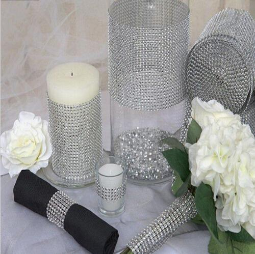 New Wedding Gift DIY Craft Accessories 24 Rows Diamond Mesh Wrap Sparkle Rhinestones Crystal Ribbon 10 Yards/Roll For Party Decoration