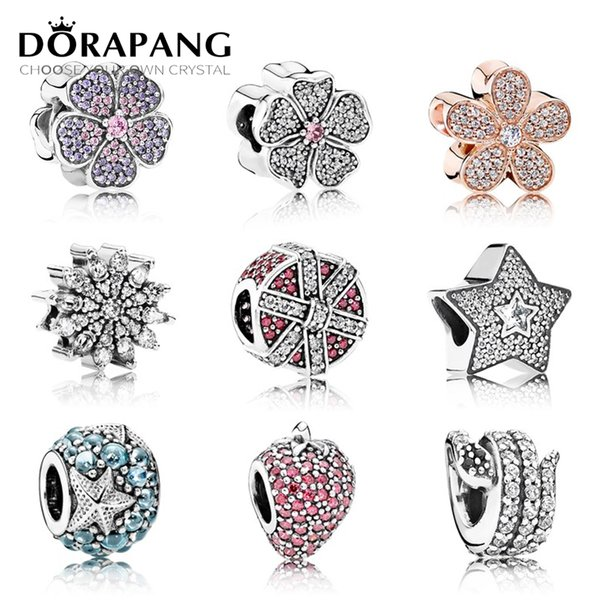 DORAPANG 100% Genuine 925 Sterling Silver Flower type beads Clear CZ Charm bead Fit Bracelet DIY bracelet The factory wholesale