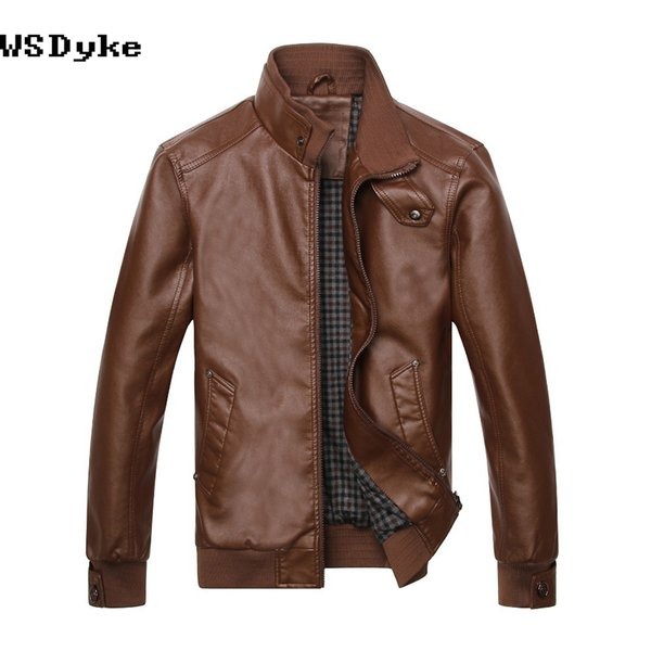 Wholesale- Spring New Fashion Slim Leather Jacket Men Good Quality Stand Collar Jaqueta De Couro Masculino
