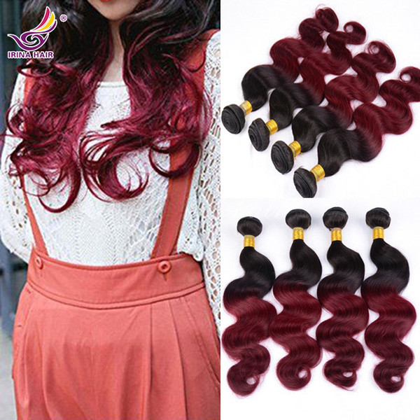 "Ombre Virgin Hair Burgundy Brazilian Virgin Hair Extension 4 Bundles Mixed Lengths 12""-26"" Raw Peruvian Virgin Hair Body Wave Hair Weaving"